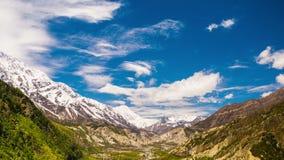 4k Timelapse av den Manang dalen, Nepal, Himalayas arkivfilmer
