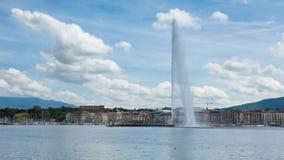 4K Timelapse av symbolet för vattenspringbrunn av geneva Schweiz stock video