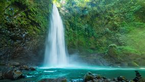 Wonderful Scenery of Nungnung Waterfall in Bali. 4K Timelapse in Bali Island, indonesia stock video footage