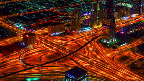 4K TimeLapse. Bird's-eye night view highway in Dubai