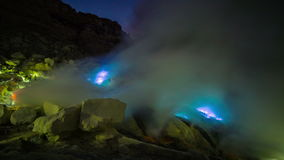 4K Timelapse. Blue flame of gas in the crater of the volcano Ijen. East Java, Indonesia - 25 July 2015 stock video