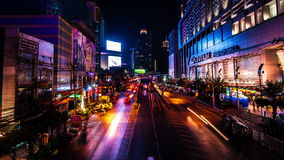 4K TimeLapse. Cars fast accelerated along the night road city stock video footage