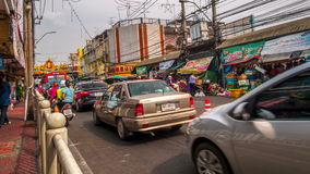 4K TimeLapse. Closeup camera. Movement of cars in the old district. 4K TimeLapse - February 2014. Bangkok and Phuket island, Thailand stock video footage