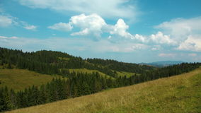 4K Timelapse of clouds and beautiful green mountains with coniferous trees stock video footage