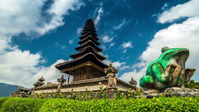 4K Timelapse. Clouds over the temple Pura Ulun Danu Bratan. 15 July 2015, Bali, Indonesia stock video footage