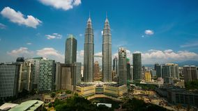 4K timelapse, cloudscape view of the Petronas Twin Towers stock video footage