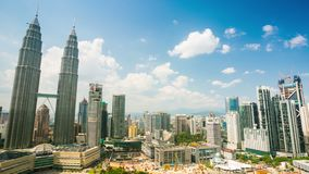 4K timelapse, cloudscape view of the Petronas Twin Towers stock footage