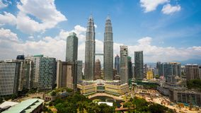 4K timelapse, cloudscape view of the Petronas Twin Towers stock video