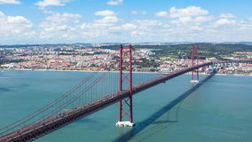 4K timelapse of 25 de Abril (April) Bridge in Lisbon - Portugal - UHD stock video