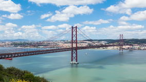4K timelapse of 25 de Abril (April) Bridge in Lisbon - Portugal - UHD stock footage