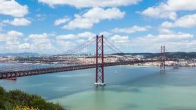 4K timelapse of 25 de Abril (April) Bridge in Lisbon - Portugal - UHD. 4K timelapse of 25 de Abril (April) Bridge in Lisbon - Portugal  UHD stock footage