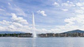 4k Timelapse de la fuente de agua de Ginebra (d'eau del jet) en Ginebra, Suiza almacen de metraje de vídeo