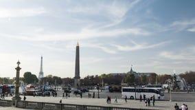 4K Timelapse del lugar Concorde en París, Francia almacen de metraje de vídeo