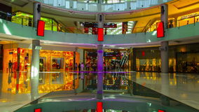 4K TimeLapse. Dubai Mall LCD LED dancing floor walk people.