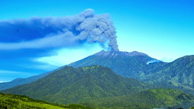 4K Timelapse. Eruptions Raung volcano, panoramic view. East Java, Indonesia - 25 July 2015 stock footage