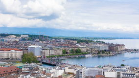 4K Timelapse of Geneva Mont Blanc bridge from the Saint Pierre cathedral - Switzerland stock footage