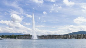 4k Timelapse of Geneva water fountain (Jet d'eau) in Geneva, Switzerland. stock video footage