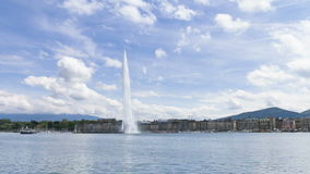 4k Timelapse of Geneva water fountain (Jet d'eau) in Geneva, Switzerland. stock footage