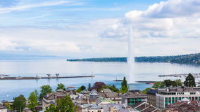 4K Timelapse of Geneva water fountain from the Saint Pierre cathedral - Switzerland stock video