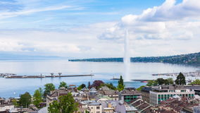 4K Timelapse of Geneva water fountain from the Saint Pierre cathedral - Switzerland stock footage