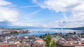 4K Timelapse of Geneva water fountain from the Saint-Pierre cathedral - Switzerland stock video footage