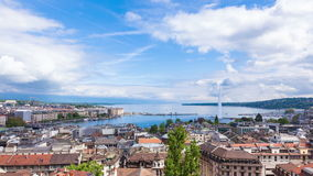 4K Timelapse of Geneva water fountain from the Saint-Pierre cathedral - Switzerland stock video