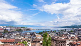 4K Timelapse of Geneva water fountain from the Saint-Pierre cathedral - Switzerland stock footage