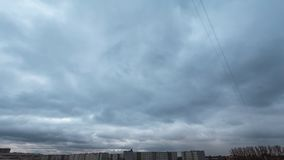 4k timelapse of gloomy Spring sky with a lot of clouds fast mooving stock video