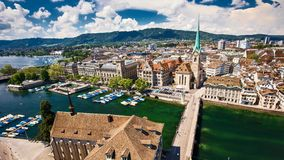 4K Timelapse of historic Zurich city center with famous Fraumunster Church stock video footage