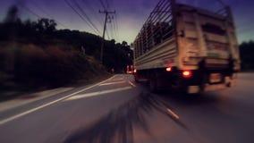 4K timelapse Kamera rusza się naprzód osoby na autostrada wieczór w Phuket zbiory