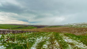 4K, timelapse La nieve cayó en los campos agrícolas de la primavera, en la reserva de Aqsa Dzhabaglinsky, Tian Shat occidental almacen de metraje de vídeo