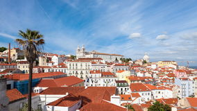 4K timelapse of Lisbon rooftop from Portas do sol viewpoint - Miradouro in Portugal - UHD. 4K timelapse of Lisbon rooftop from Portas do sol viewpoint stock video footage