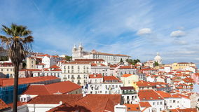 4K timelapse of Lisbon rooftop from Portas do sol viewpoint - Miradouro in Portugal - UHD. 4K timelapse of Lisbon rooftop from Portas do sol viewpoint stock video