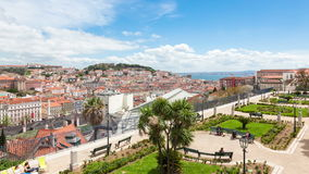 4K timelapse of Lisbon rooftop from Sao Pedro de Alcantara viewpoint - Miradouro in Portugal - UHD. 4K timelapse of Lisbon rooftop from Sao Pedro de Alcantara stock video footage