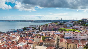 4K timelapse of Lisbon rooftop from Sao Vicente de fora church  in Portugal - UHD. 4K timelapse of Lisbon rooftop from Sao Vicente de fora church  in Portugal stock footage