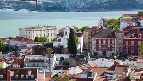 4K timelapse of Lisbon rooftop from Sao Vicente de fora church  in Portugal - UHD stock video