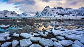 4K Timelapse of Lofoten islands in winter, Norway, Europe. 4K Timelapse of Lofoten islands in winter season, Norway, Europe stock video