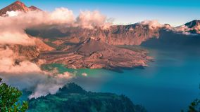 Tropical panorama timelapse view of volcano mountain Rinjani in Lombok, Indonesia. 4K Timelapse in Lombok Island, Indonesia stock footage