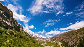 4k Timelapse of Manang Valley, Nepal, Himalayas. 4k Timelapse of Manang Valley, a view from the trail Pisang-Manang, Nepal, Himalayas. Annapurna Circuit Trek stock video footage