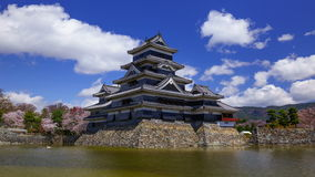 4K Timelapse of Matsumoto castle in spring season, Nagano, Japan stock video