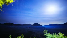 4K Timelapse. The Milky Way above the volcano Bromo. East Java, Indonesia - 25 July 2015 stock footage