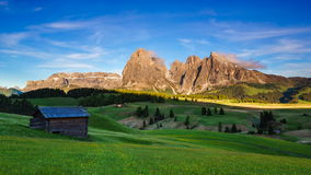 4K Timelapse Mountain Langkofel at sunset , Seiser Alm, Dolomites, Italy stock footage