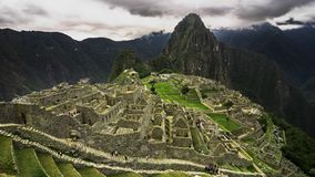 4k Timelapse movie film clip of Machu Picchu in Peru. Machu Picchu is a Inca citadel situated on a mountain ridge in the