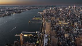 4k Timelapse movie film clip of New York City Manhattan, day to night transition with financial district skyline stock video