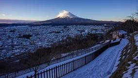 4K Timelapse Mt 在日出,冬天季节,富士吉田市,日本的富士 股票录像