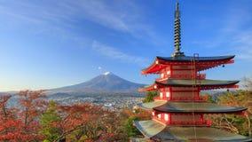4K Timelapse of Mt. Fuji with Chureito Pagoda at sunrise, Fujiyoshida, Japan stock video footage