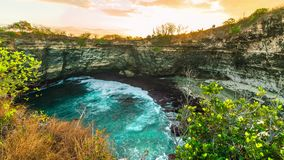 Timelapse Sunset in the Broken beach, Nusa Penida, Indonesia. 4K Timelapse in Nusa Penida Island, Bali, Indonesia stock footage