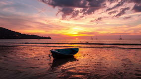 4K TimeLapse. Old boat on the beach at sunset stock video footage