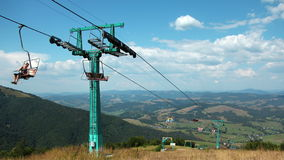 4K Timelapse of people on cable road in carpathian mountains stock video footage