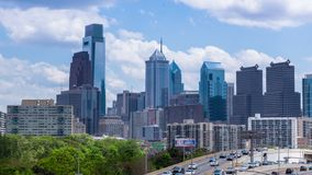 4K Timelapse of the philadelphia skyline  Pennsylvania USA stock footage